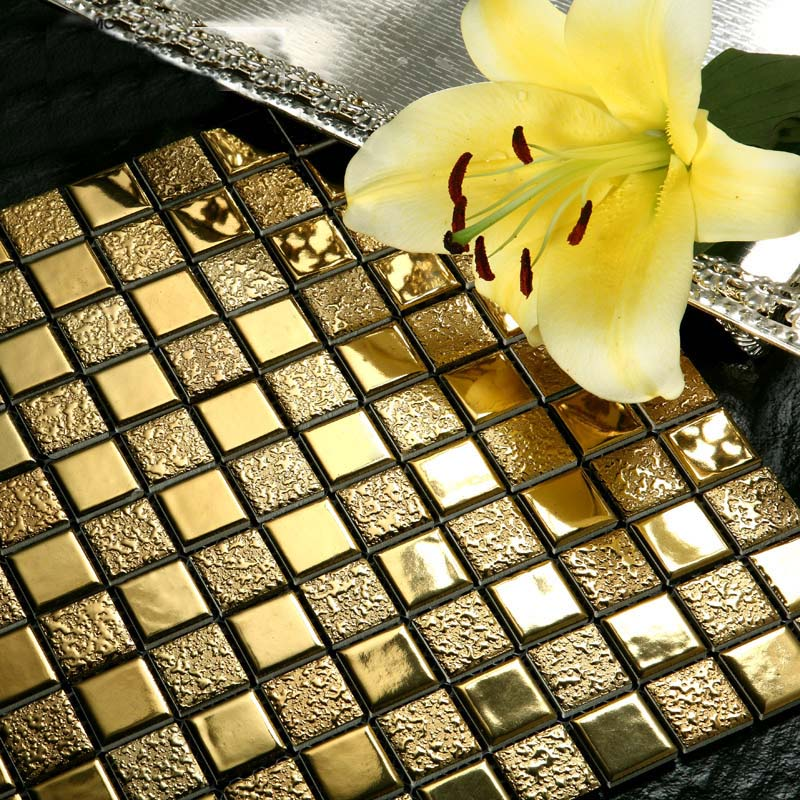 Porcelain Bathroom Wall Interior Decorative Gold Plated Tile Mosaic Kitchen Backsplash Ideas Mirror