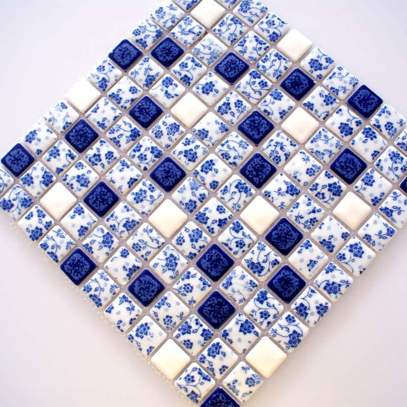 Blue and White Tile Glossy Porcelain Mosaic Bathroom Tiles ...