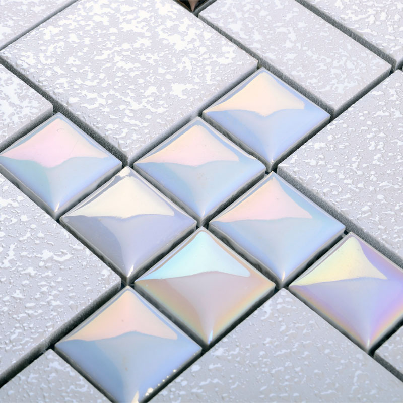 Tile grey square iridescent tile kitchen backsplash bathroom mirror