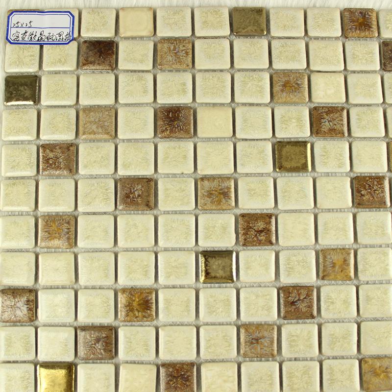 Glazed Porcelain Square Mosaic Tiles Design Beige Ceramic