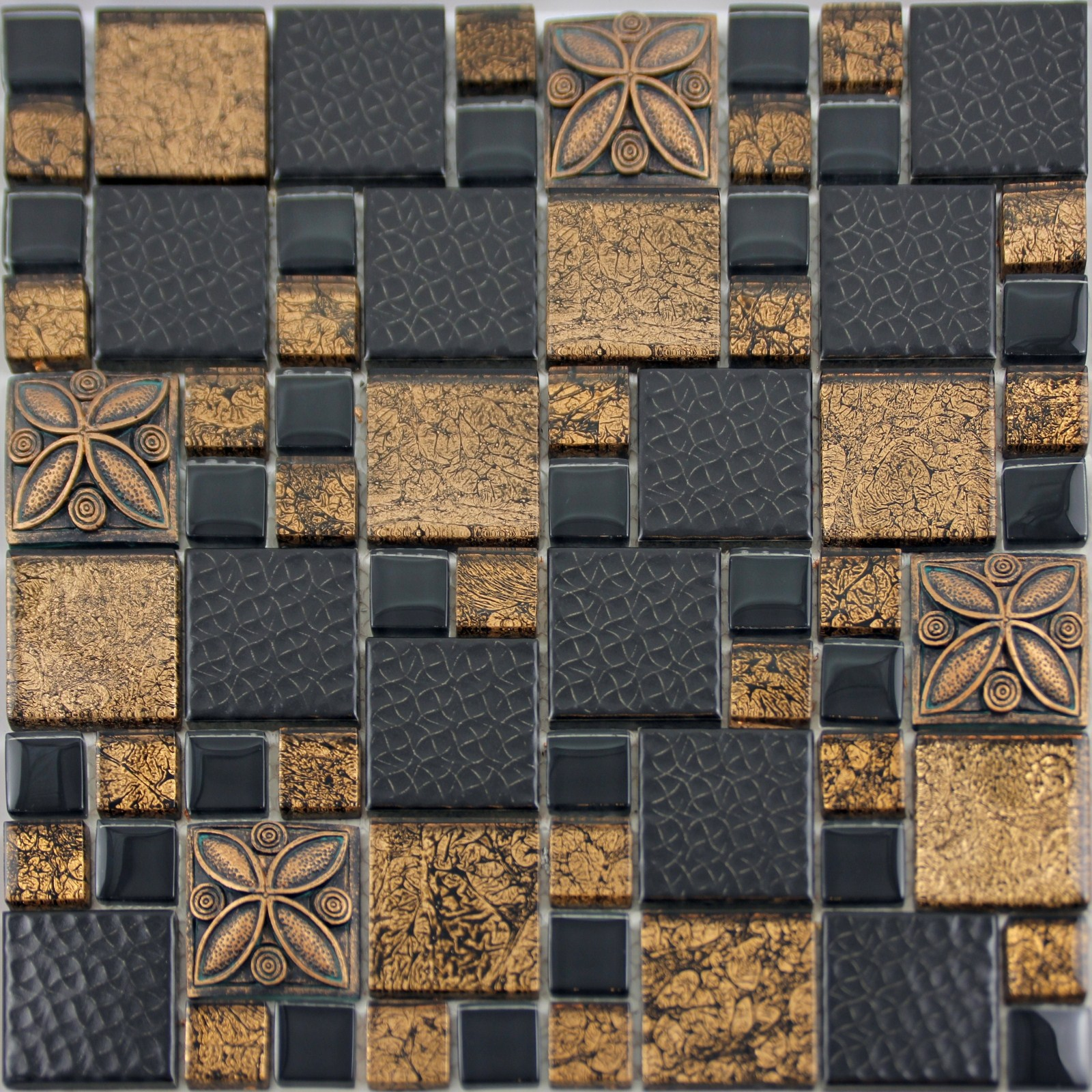 Black porcelain mosaic tile designs gold glass tiles Mosaic kitchen wall tiles ideas