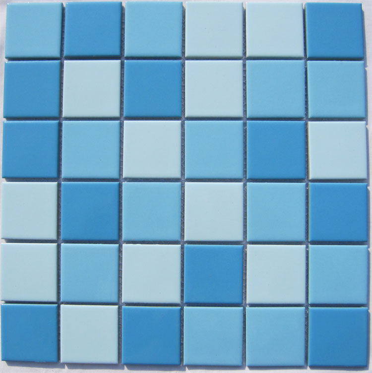 Glazed Porcelain Blue Mosaic Tiles Wall 48mm Ceramic Tile