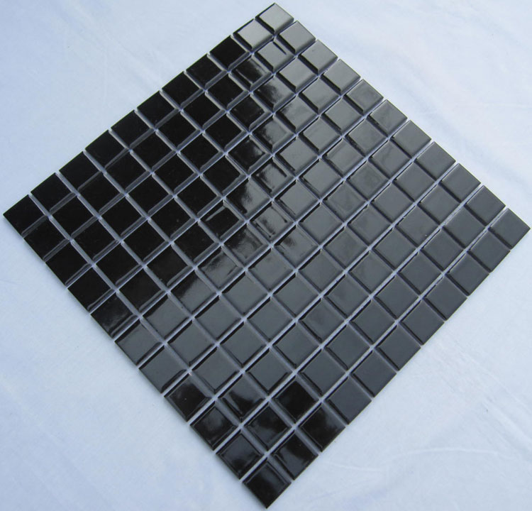 Glazed Porcelain Square Mosaic Tiles Design Black Ceramic