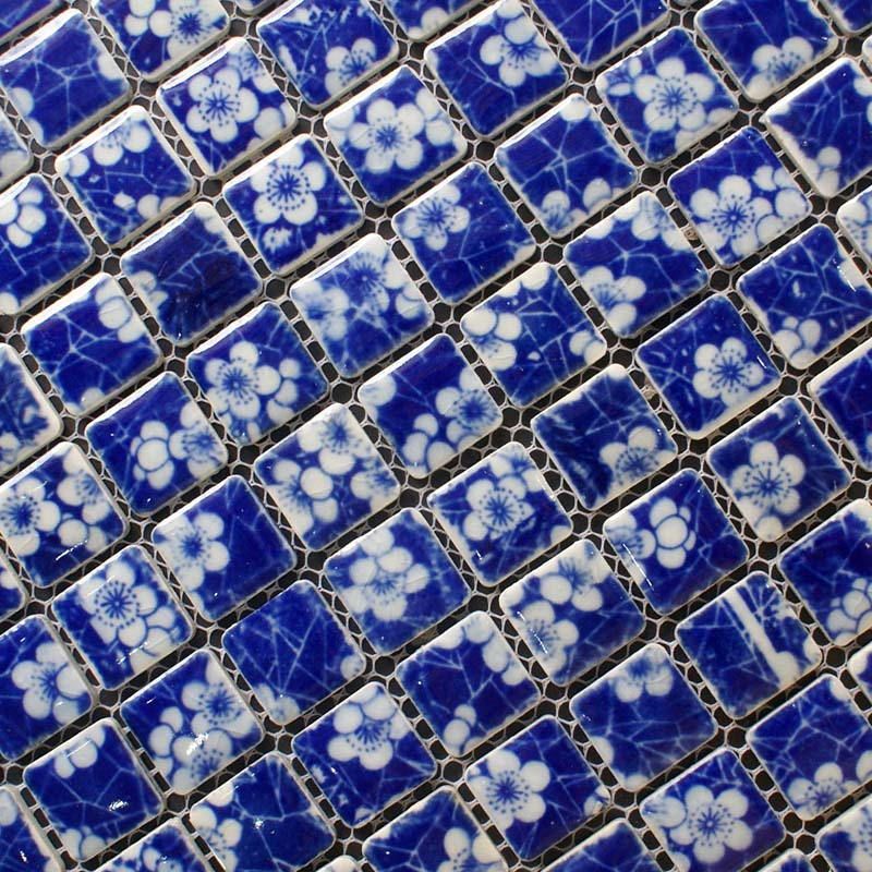 Porcelain Mosaic White And Blue Tile Snowflake Patterns