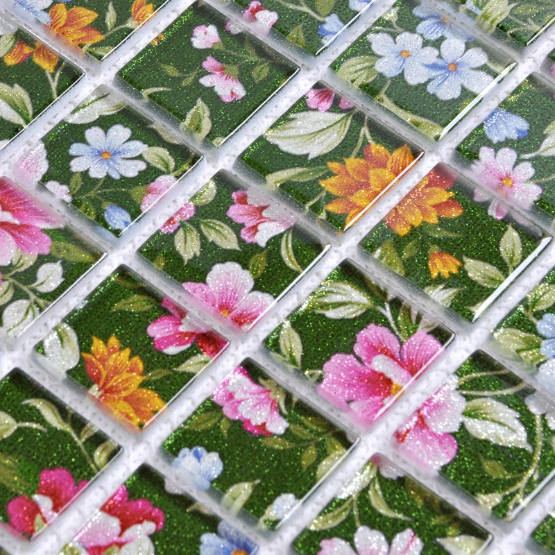 Puzzle Mosaic Wall Tiles For Backsplash Flower Pattern Design