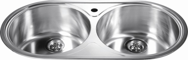 Wholesale Round Kitchen Sink Polished 304 Stainless Steel 18/10 Chrome  Nickel Equal Double Bowl 20 Gauge