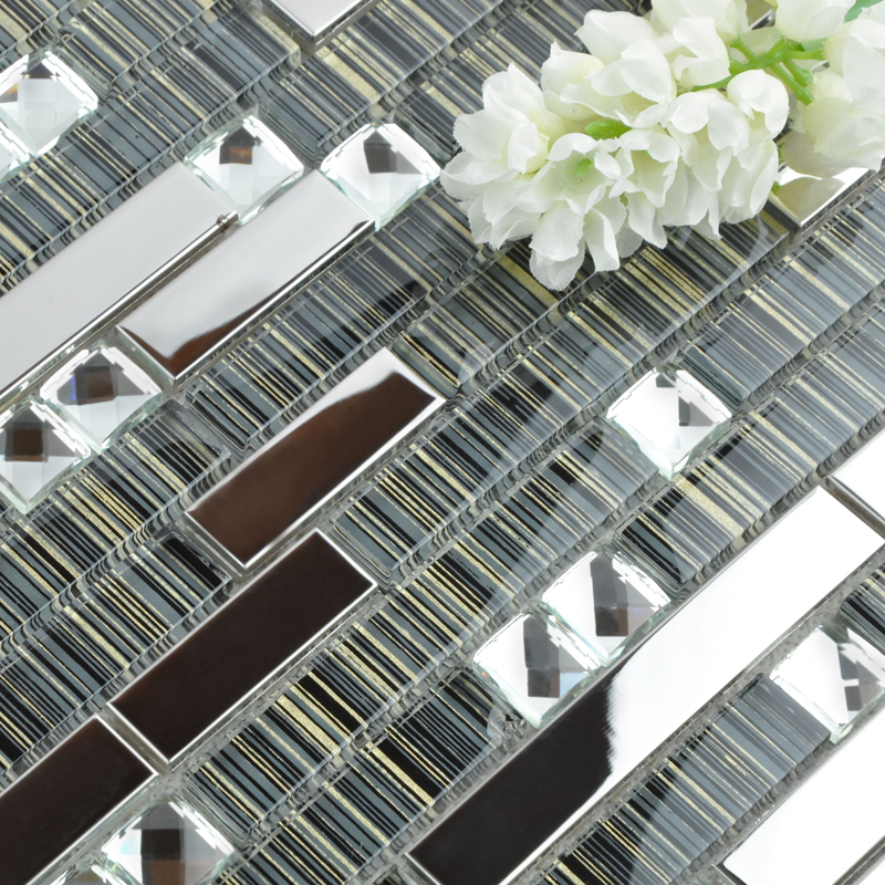 Wholesale metallic backsplash 304 stainless steel sheet metal and crystal glass blend mosaic - Silver tin backsplash tiles ...