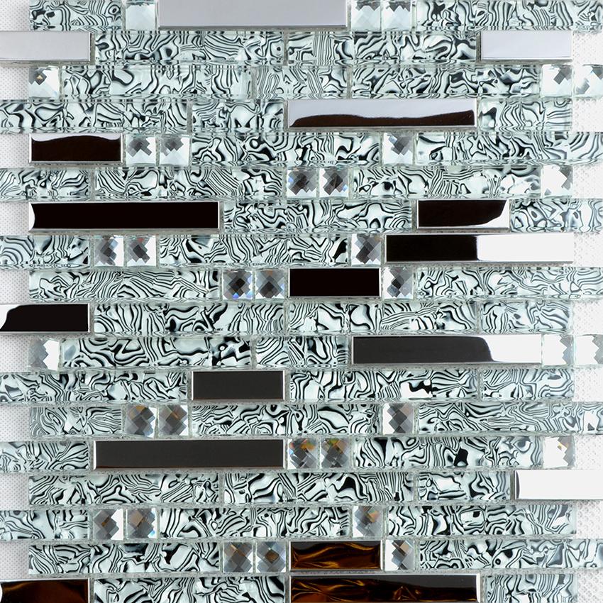 Silver 304 Stainless Steel Metal Crystal Gl Mosaic Tile Diamond Art Wall Tiles Sheet Tws052