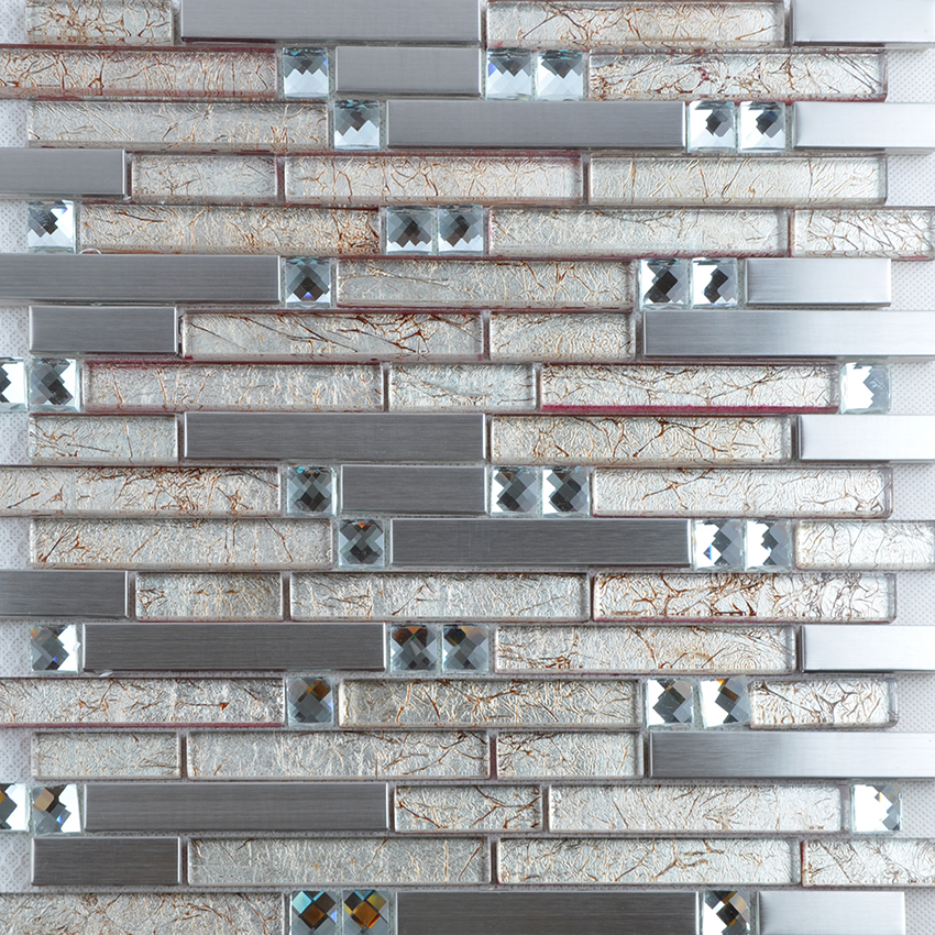 silver 304 stainless steel metal crystal glass mosaic tile diamond sheet - t004