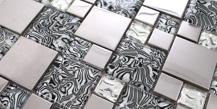 silver304 stainless steel metal crystal glass tiles sheet -1941-1