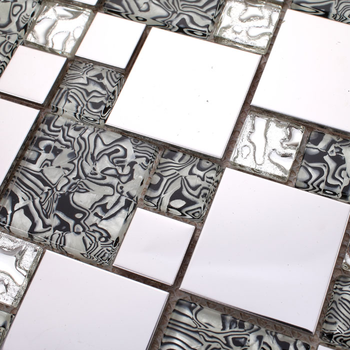 silver 304 stainless steel metal crystal glass tiles sheet - 1941-1