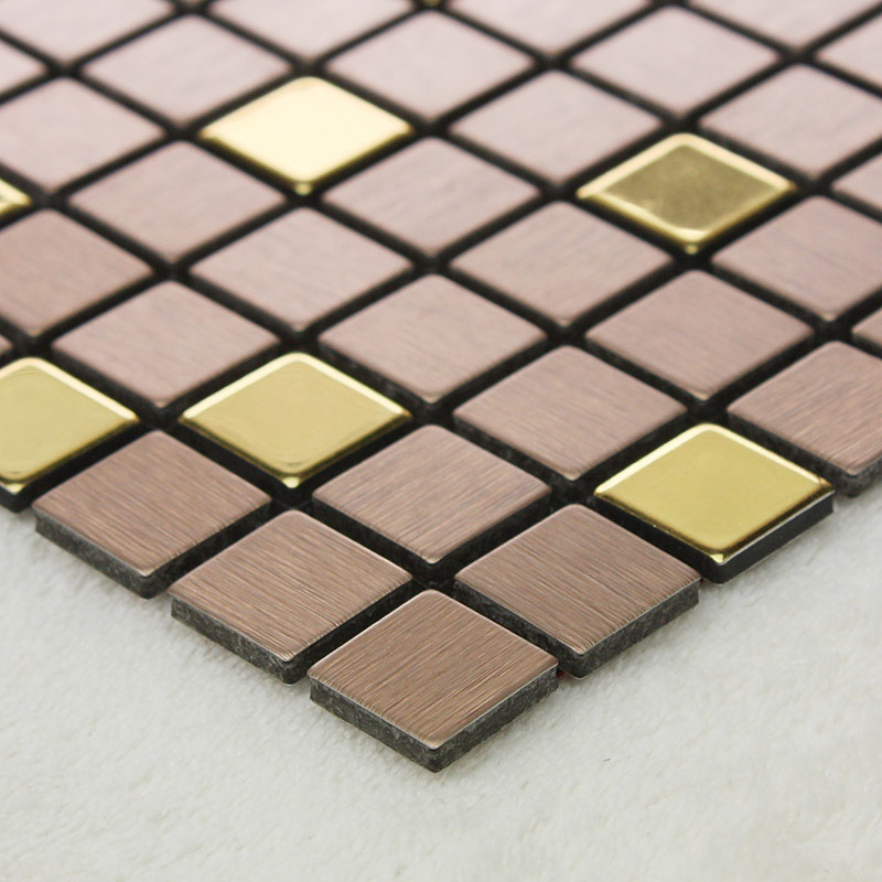 Adsive Mosaic Tile Backsplash Square Brushed Metal Wall