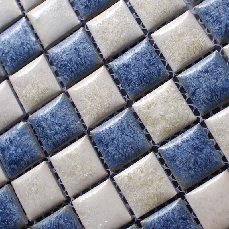 Porcelain Bathroom Wall Tile Design Square Blue And White Mosaic Tile  Kitchen Backsplash Border ...