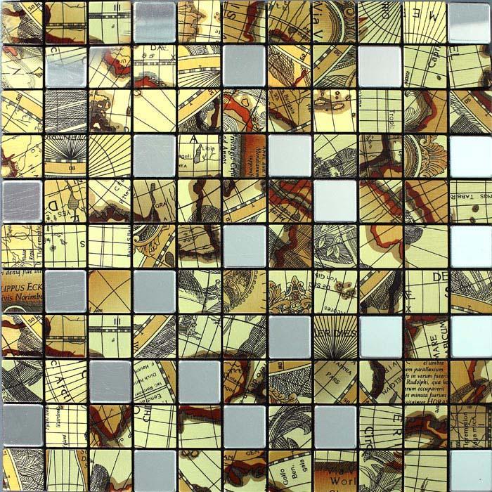 Metallic Mosaic Tile Globe Pattern Bathroom Decorative