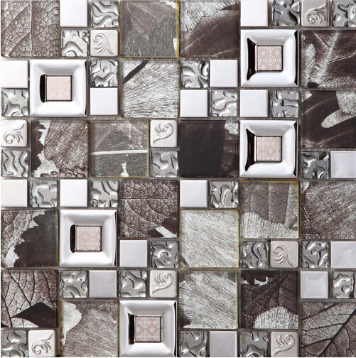 Grey Crystal Glass Mosaice Tile 304 Stainless Steel Free