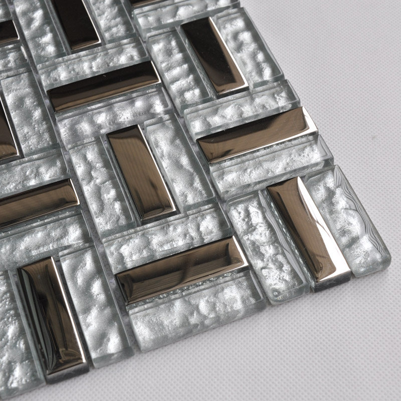 Stainless Steel Pattern Gray Glass Mosaic Tile: Silver Stainless Steel Backsplash Clear Glass Tile Metal