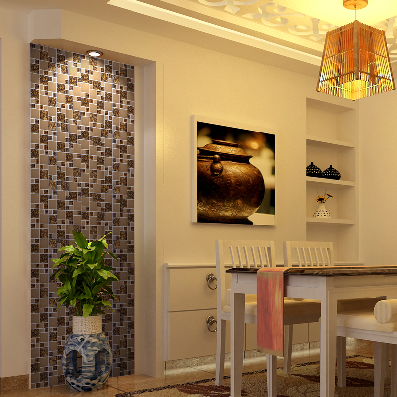 stainless steel & glass blend mosaic dining room wall tiles - kls033