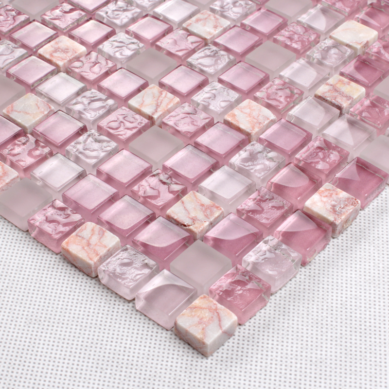 stone glass mosaic tile pink wall sticker - k1638