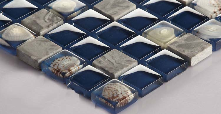 stone glass mosaic tile shell blue wall tiles sticker - 616
