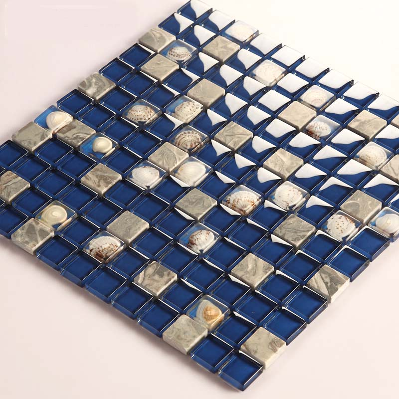 stone glass mosaic tile shell marble blue wall stickers- 616