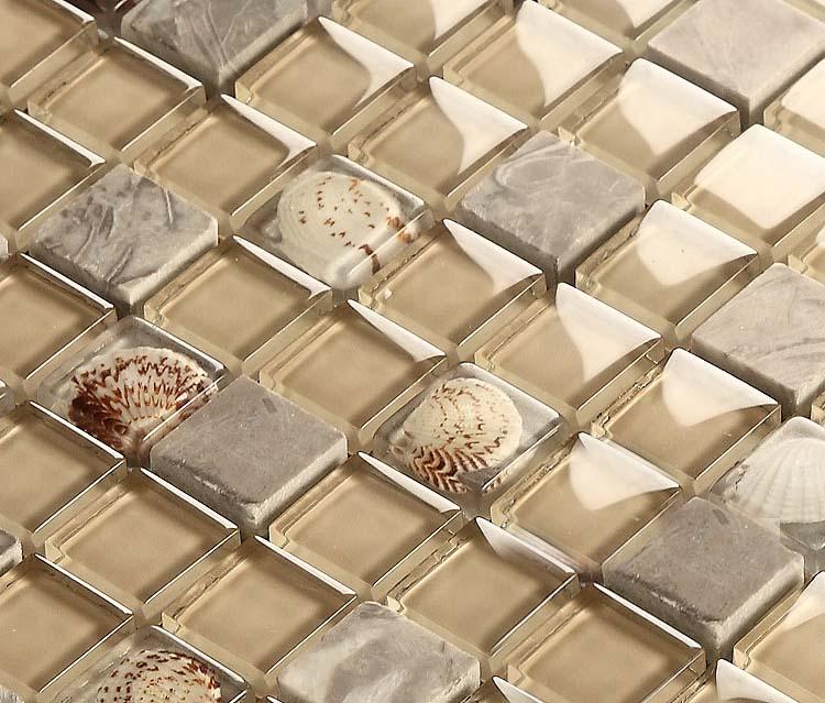 Gray Stone Mosaic Buff Glass Glossy Tile Backsplash Resin