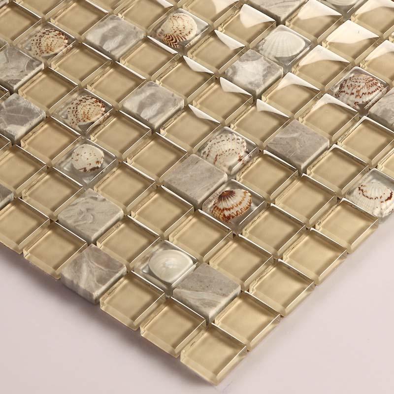 Gray Stone Mosaic Buff Glass Glossy Tile Backsplash Resin ...