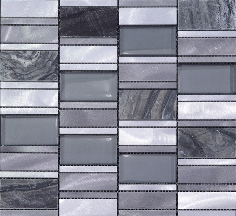 Stone And Glass Mosaic Sheets Brushed Aluminum Metal Wall