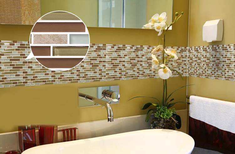 stone glass mosiac tiles bathroom backsplash-stickers - 619