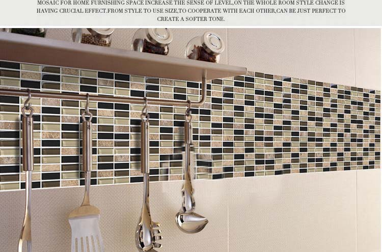 stone glass mosiac tiles kitchen wall backsplash stickers 605