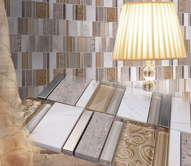 Stone And Glass Mosaic Sheets Stainless Steel Backsplash
