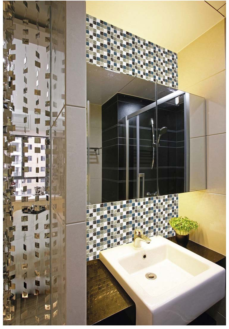 stone glass mosiac tiles washroom crackle floor - l316