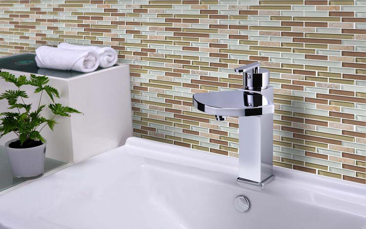 stone mosaic tile sheet strip glass washroom wall sticker - 619