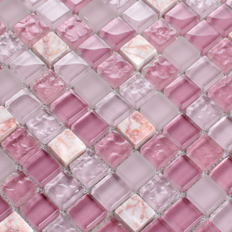 Pink Stone Crystal Mosaic Tile Sheet Square Backsplash Washroom Of Wall Stickers Kitchen Tiles