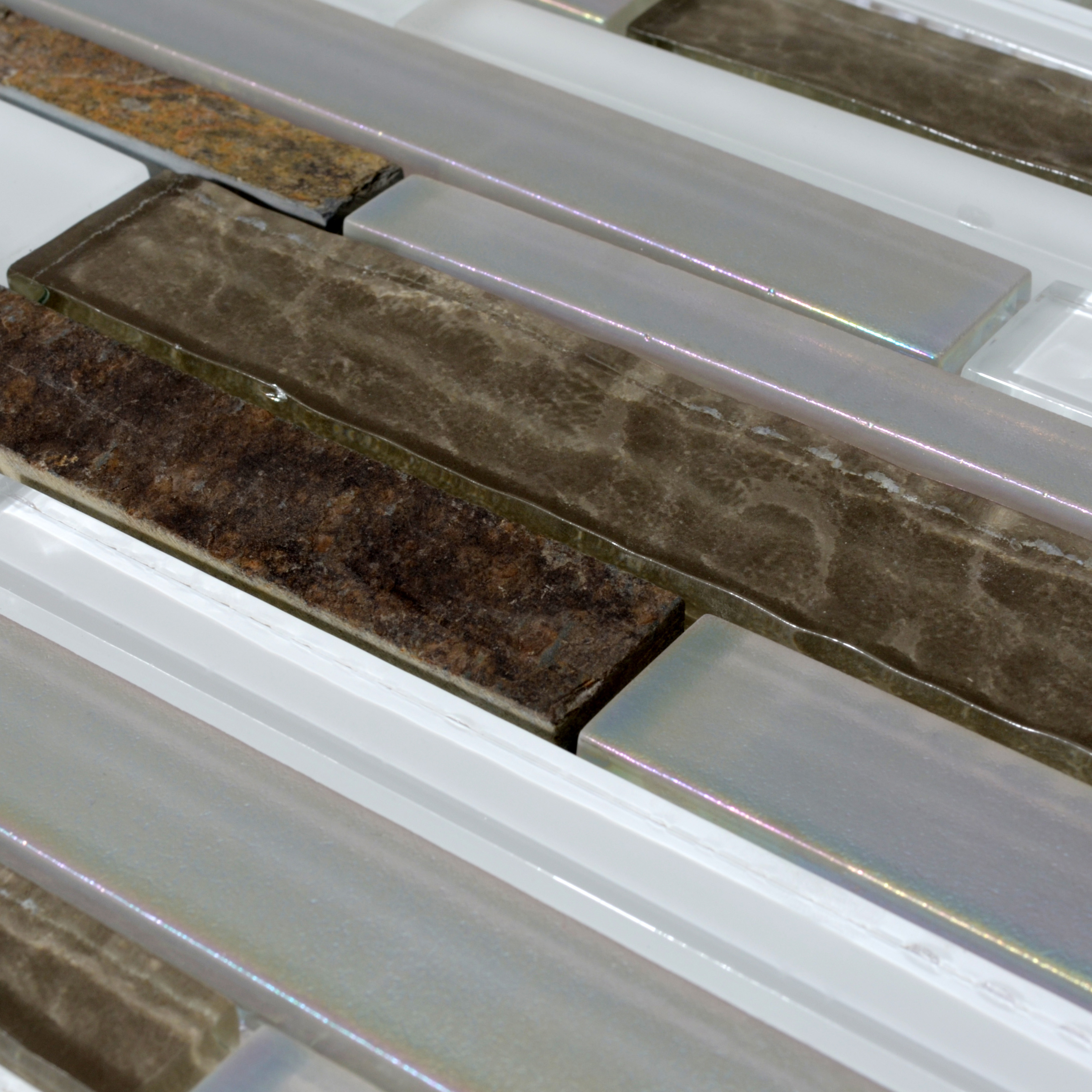 Wholesale Natural Stone With Crystal Mosaic Tile Sheet Marble Backsplash Wall Sticker Strip