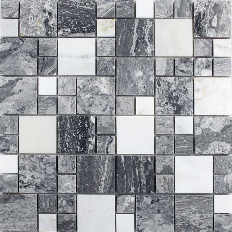 Wholesale grey stone with white crystal mosaic tile sheet Mosaic tile wall designs
