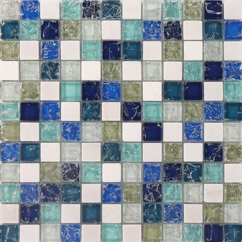 Stone And Glass Mosaic Sheets Blue Square Tiles Ceram