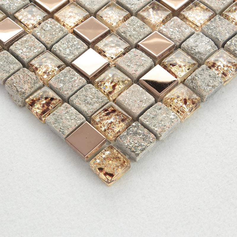 Clear Glass And Stone Mosaic Rose Gold Stainless Steel Tile Backsplash