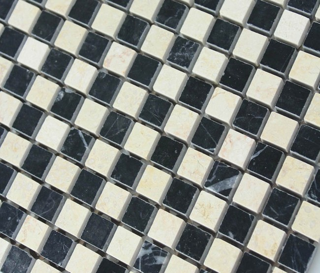 Cream Stone Mosaic Tile Square Black Patternd Washroom