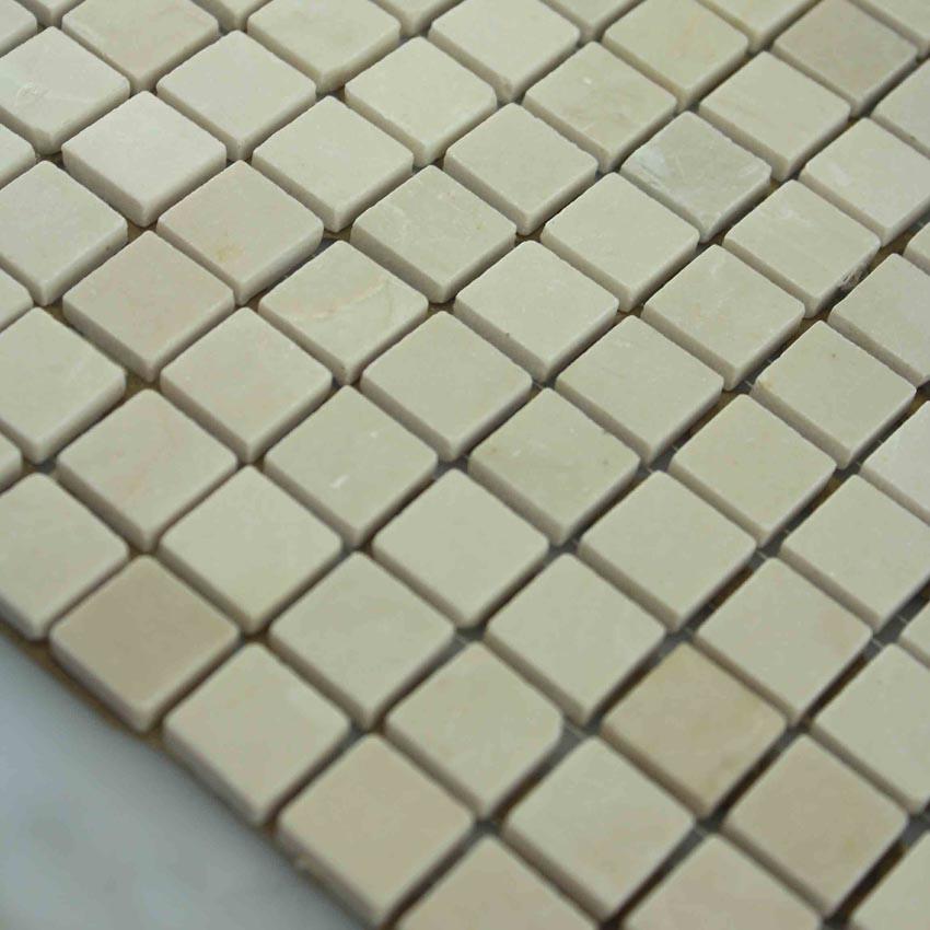Beige Stone Mosaic Tile Square Pattern Bathroom Wall