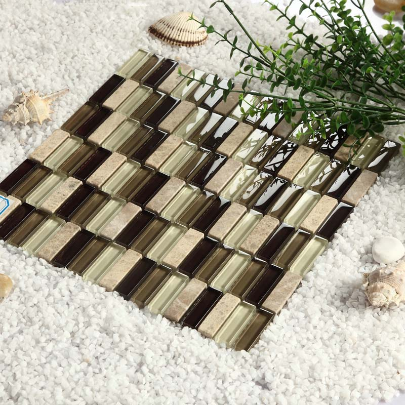 strip natural marble crystal glass mosaic tile wall stickers - 605