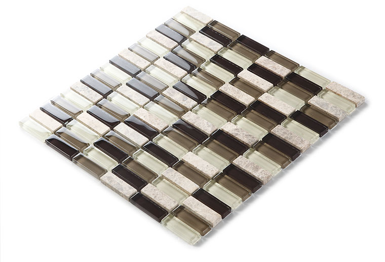 strip natrual marble crystal glass mosaic tile wall stickers - 605