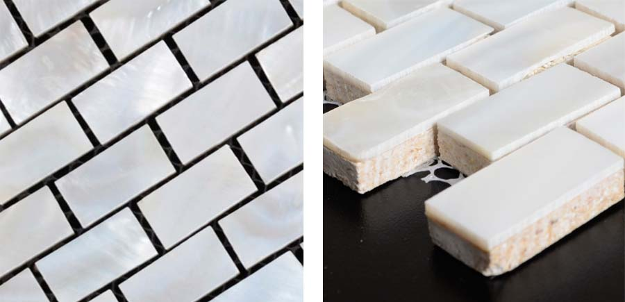 subway mother of pearl tile backsplash details - st055