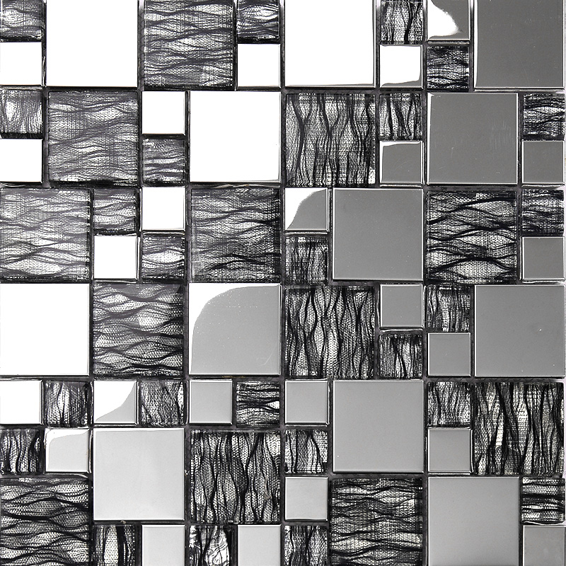 black art hand painted design glass mosaic tile silver