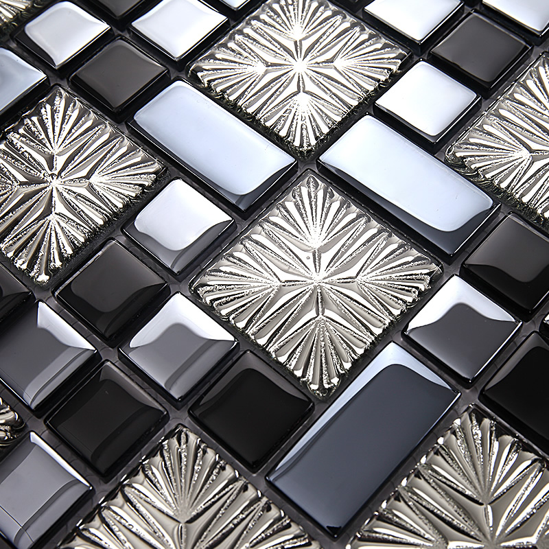 Metal Coating Mosaic Tiles Art Design Glass Tile Bedroom