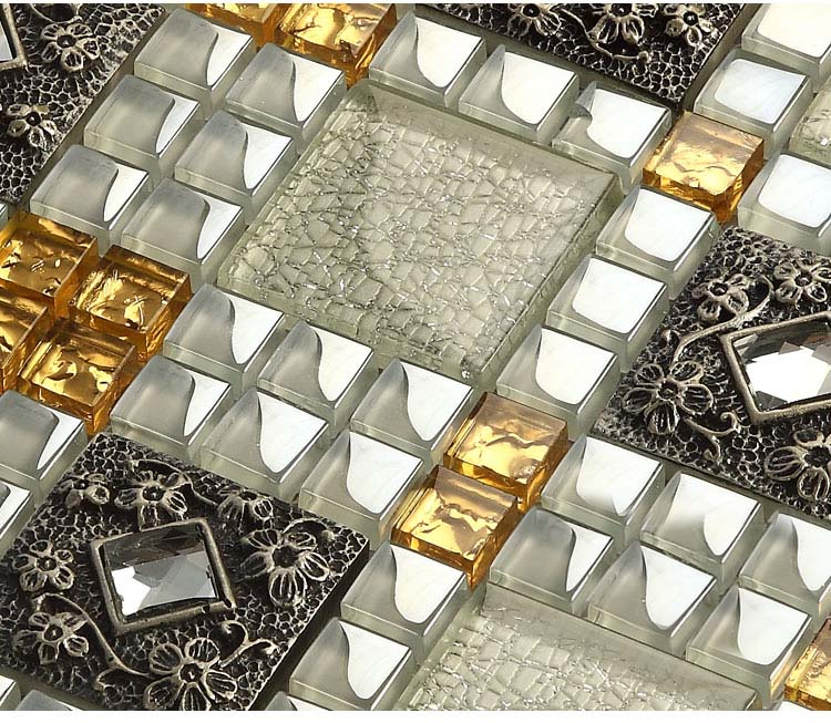 Tile diamond crystal glass backsplash kitchen design art bathroom wall