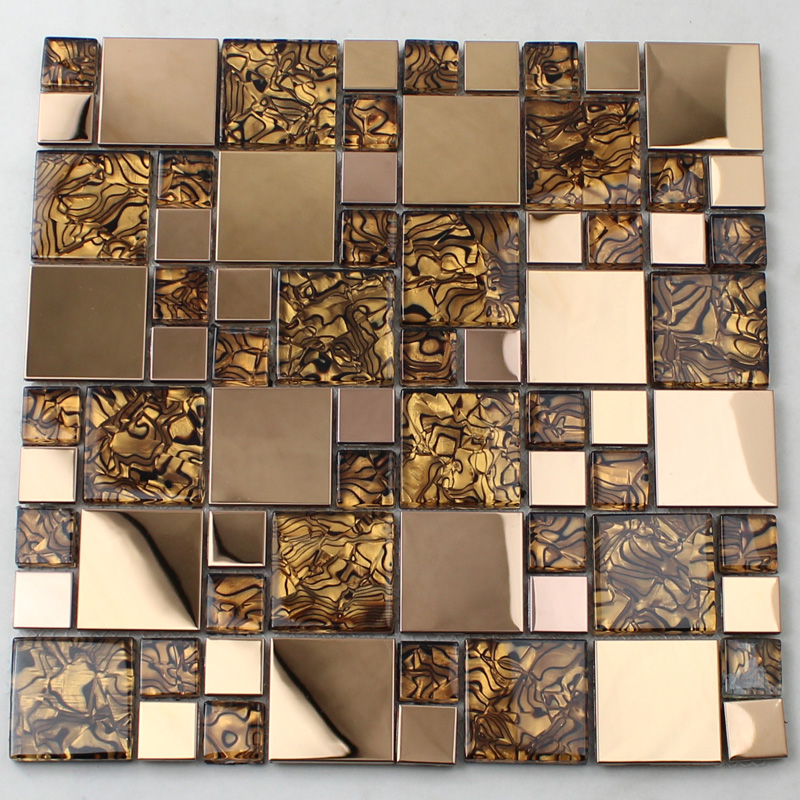 Gold glass mosaic tile backsplash stainless steel metal crystal tile for Glass mosaic tile backsplash bathroom