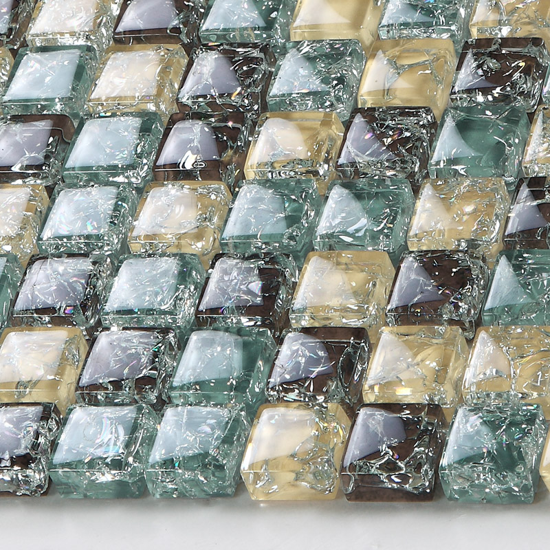Yellow Brown Crackle Glass Mosaic Tiffany Blue Crystal Backsplash