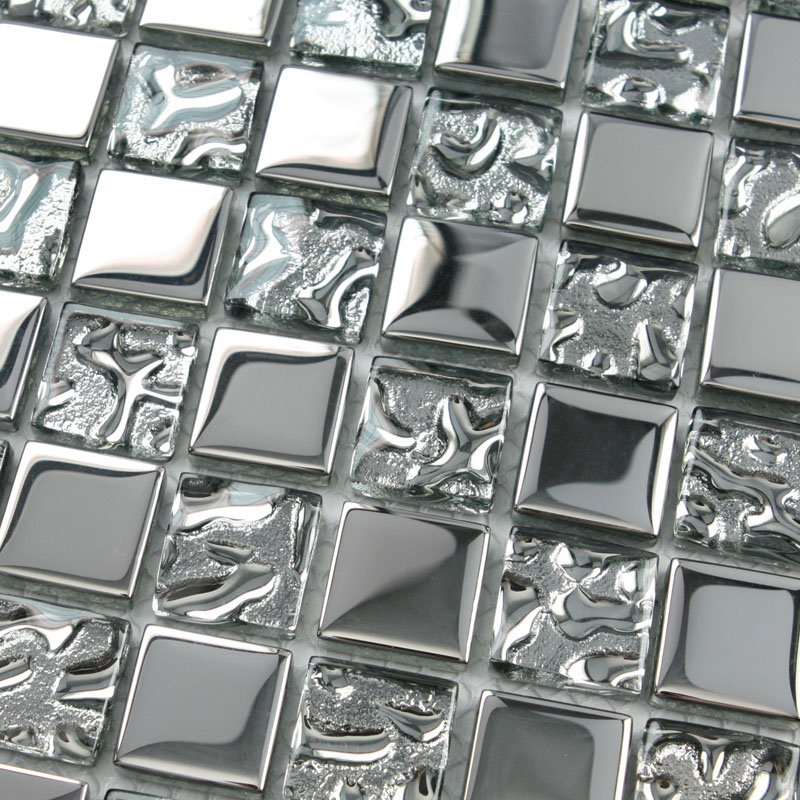 Silver Kitchen Wall Tiles: Crystal Glass Tiles Sheet Square Mosaic Tiling Bathroom