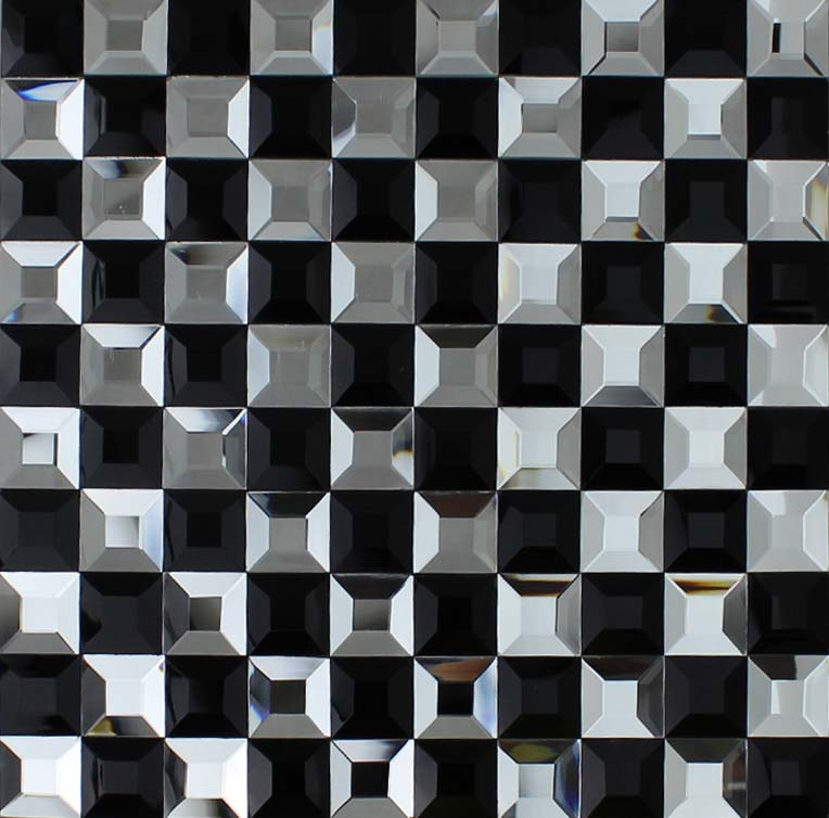Black and silver glass mosaic tile 3d pyramid crystal Mosaic tile wall designs