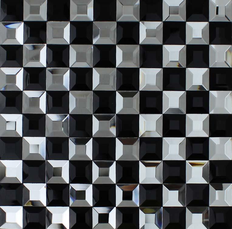 Wholesale Vitreous Mosaic Tile Crystal Glass Backsplash Kitchen Black White P
